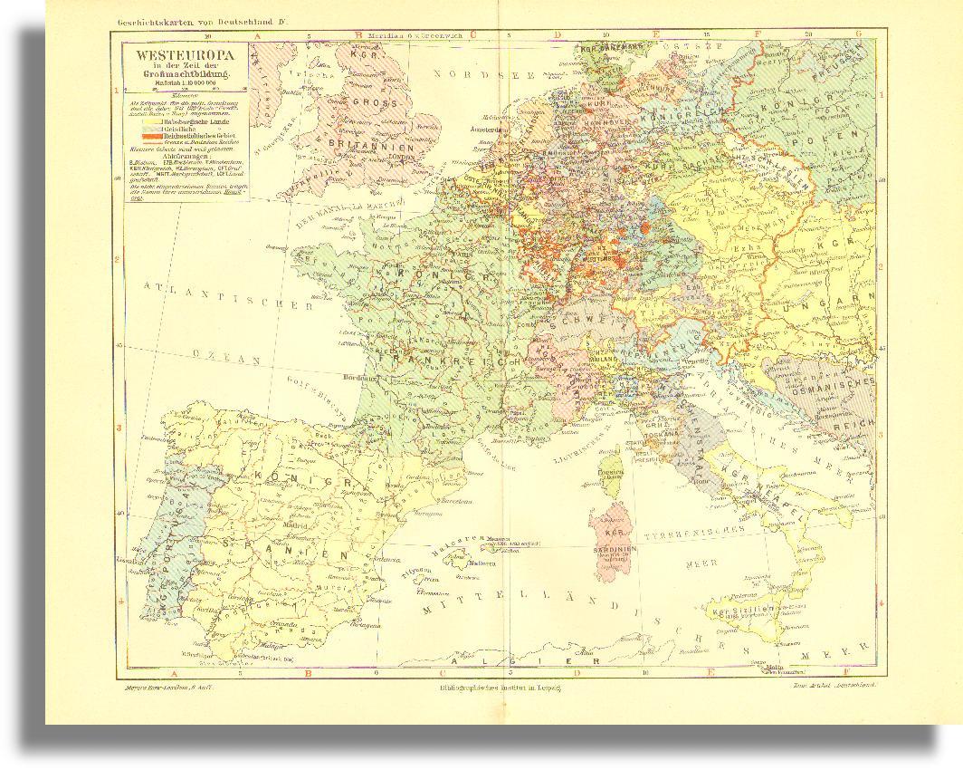 Mapa Polityczna Europy Zachodniej Na Poczatku Xviii W 1903
